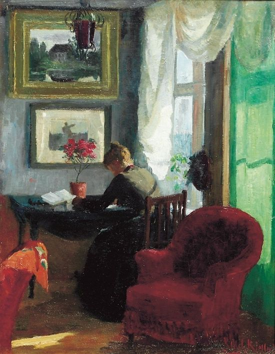 """books0977: """" Interior with red chair. Kitty Kielland (Norwegian, 1843-1914). Oil on board. Although Kielland received some training in drawing and painting, it was not until she turned thirty that she was allowed to train as a professional artist. In..."""