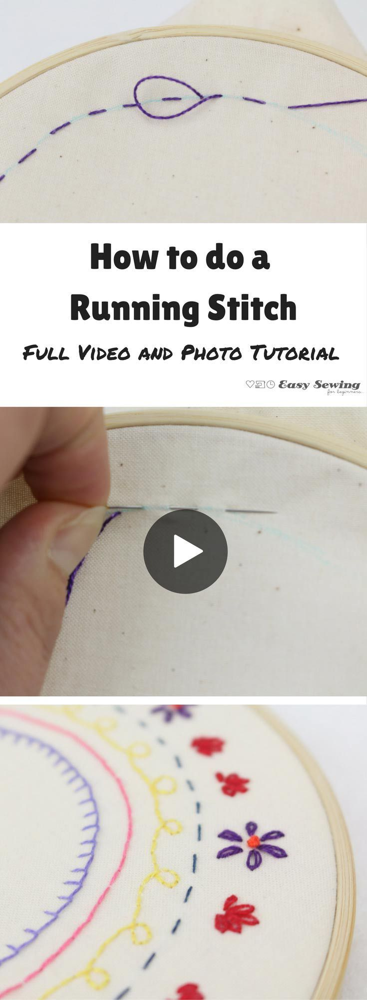 How to do a running stitch for hand embroidery video tutorial. Great for beginners!