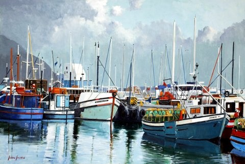 Boats at Hout Bay painted by South African artist John Smith