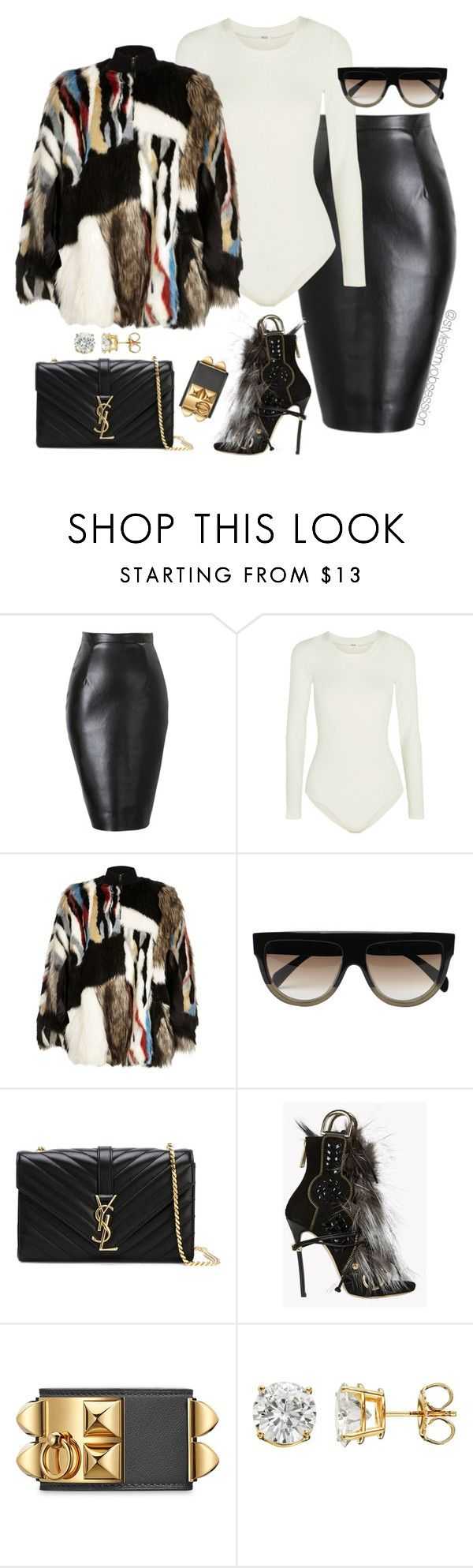 """""""Untitled #1655"""" by dnicoleg ❤ liked on Polyvore featuring Wolford, River Island, CÉLINE, Yves Saint Laurent and Dsquared2"""