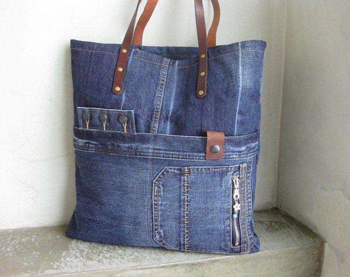 Große Einkaufstasche, Denim-Markttasche, Recycling-Jeans-Tasche, Patchwork-Wochenendtasche, blaue Umhängetasche