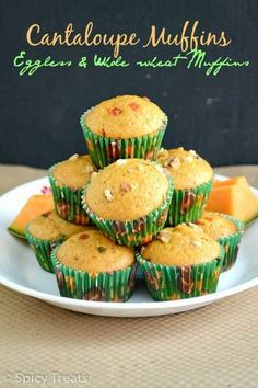 Spicy Treats: Cantaloupe Muffins / Eggless Cantaloupe Muffins / Vegan Cantaloupe Muffins