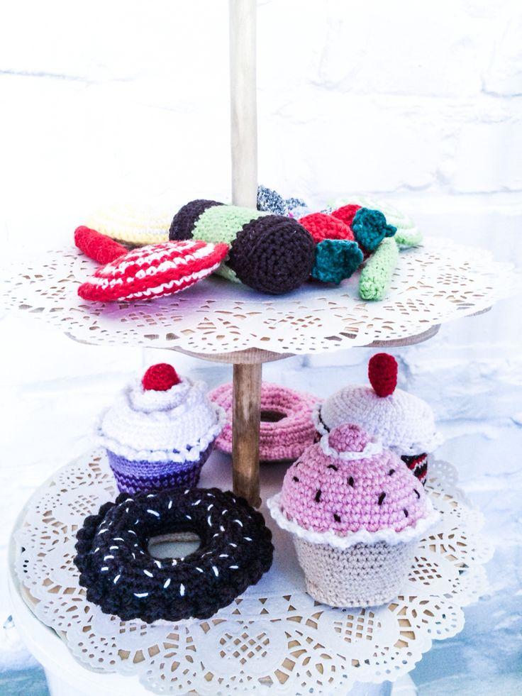 Crochet cupcakes - hæklede muffins #obber