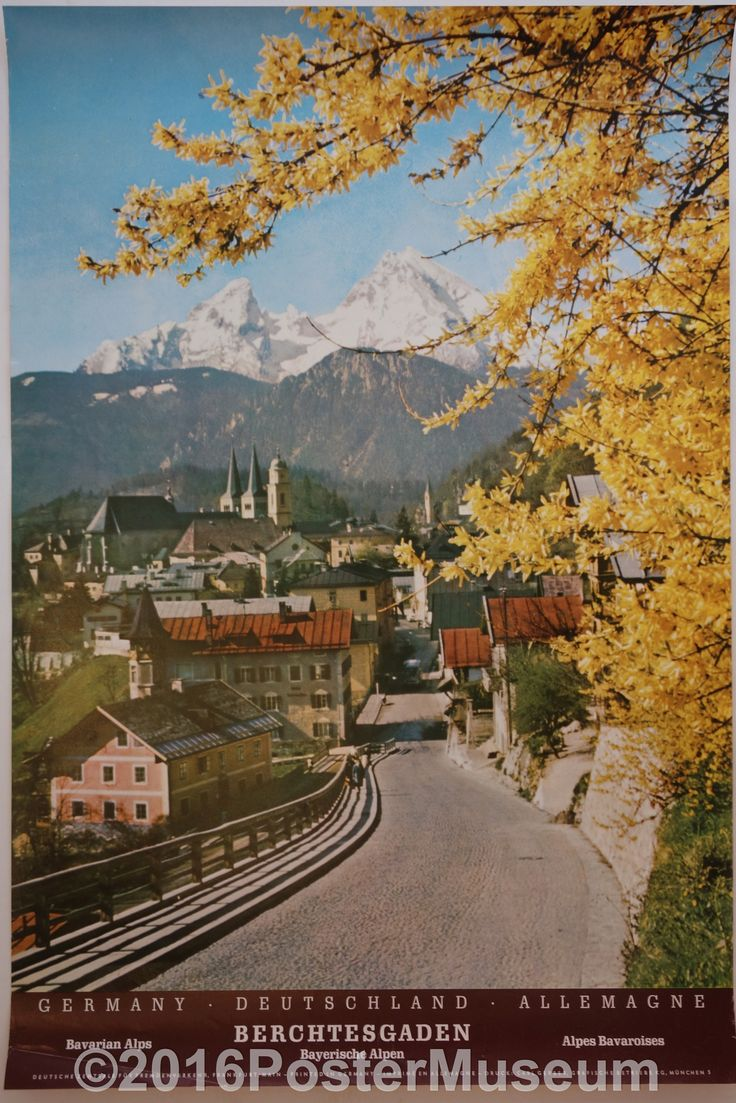 Germany travel poster. Circa 1935. Original. Printed in Germany. Bavarian Alps