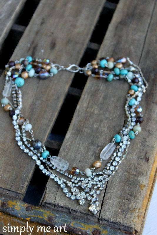 Vintage Layered Rhinestone Gemstones Turquoise and by simplymeart, $80.00