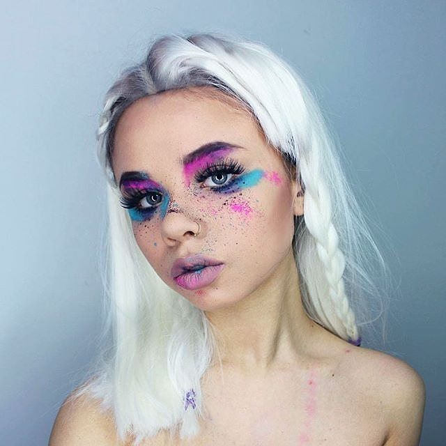 Space grunge colorful rainbow makeup