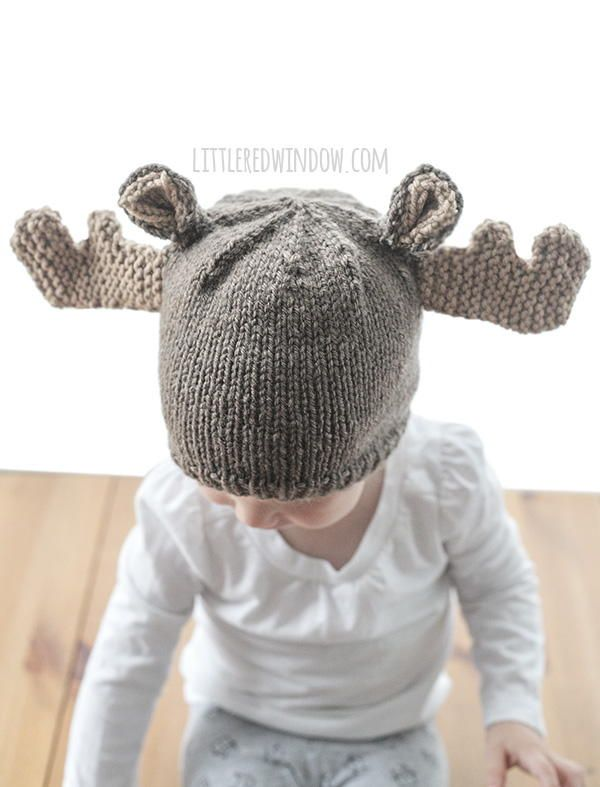 Mini Moose Hat | This knit baby hat is almost too cute for words!