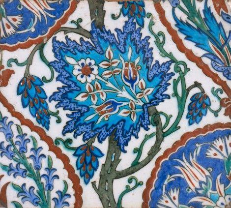 Tile about 1575-1600 Turkish (Iznik) Glazed pottery, 21.5 x 25 cm