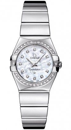 Omega Constellation Mother of Pearl Diamond Dial Stainless Steel Ladies Watch 12...