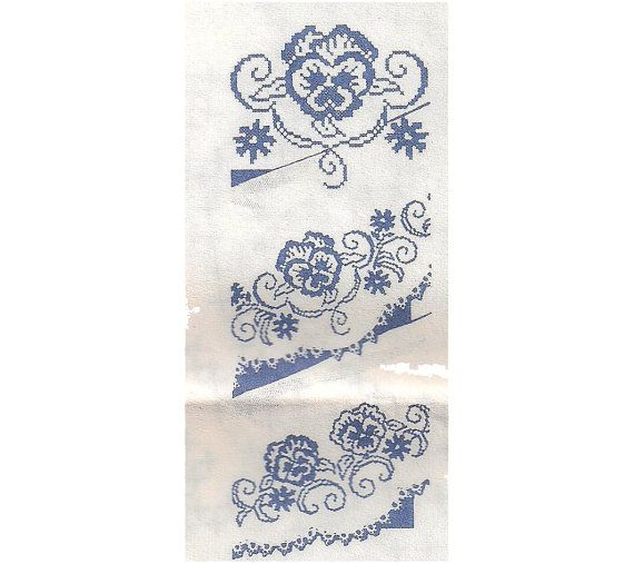 Cross stitch iron on embroidery transfers pansies for