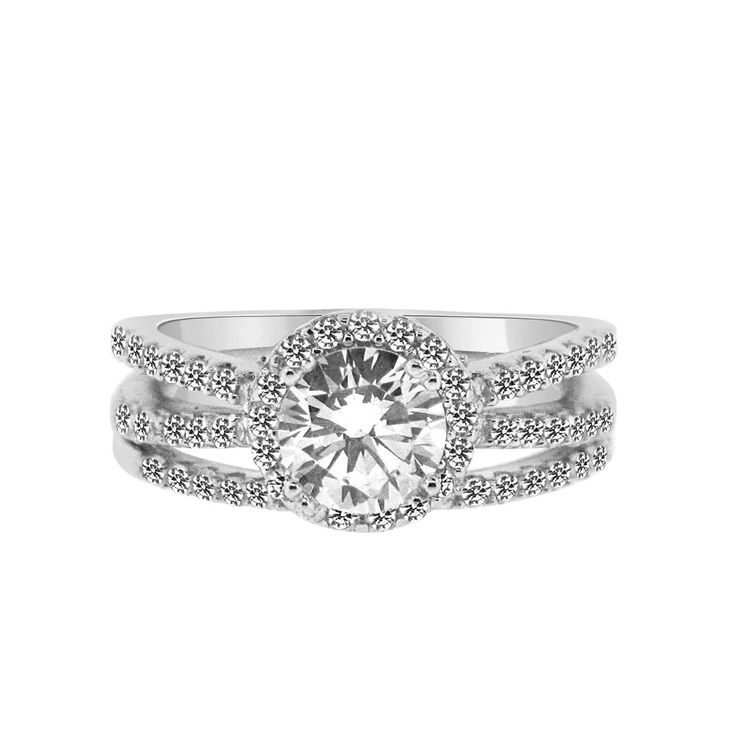ring jewelry sterling carat finish classic wedding zirconia rhodium engagement replica round cubic media cz rings sparkle silver solitaire