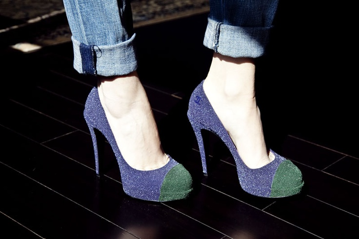 Chanel for spring: Current Elliott Jeans, Current Elliot Jeans, Man Repeller, Chanel Pumps, Style, Chanel Shoes, Blue Green Pumps, Shoes Shoes