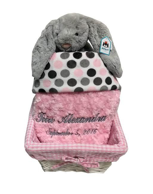 17 best new trends in baby gifts images on pinterest newborns gray and pink baby gift basket with names negle Image collections