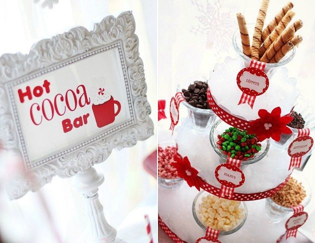 hot cocoa bar- use cupcake stand for toppings?