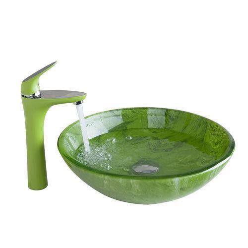 Green Tall Basin Tap+Yanksmart Bathroom Sink Washbasin Hand-Painted Waterfall 416897081 Lavatory Bath Brass Set Faucet,Mixer Tap