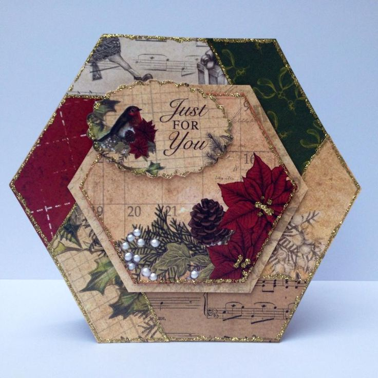 Hexagonal patchwork card by Nicky Gilburt with Christmas Cheer collection