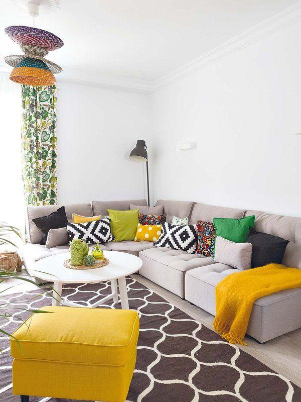 Verde și galben intens într-o amenajare veselă și modernă pentru un apartament spațios.