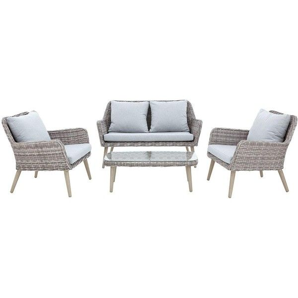 Weimar 4 Piece Sofa Set ($645) ❤ liked on Polyvore featuring home, outdoors, patio furniture, outdoors patio furniture, woven patio furniture, outdoor furniture, outdoor sofa sets and outdoor garden furniture