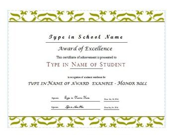 Honor roll award certificate in publisher editable for B honor roll certificate template