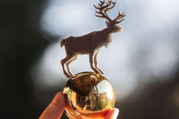 aluminium 3D printed reindeer