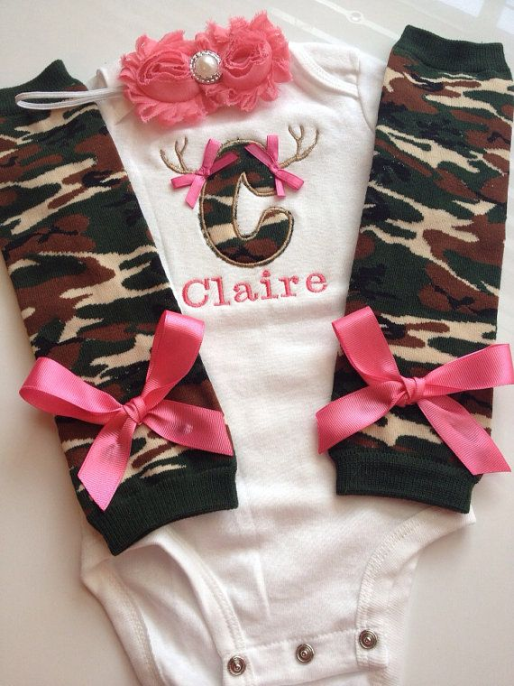 Baby Girl CAMO Hunting outfitPINK by AboutASprout on Etsy, $43.50
