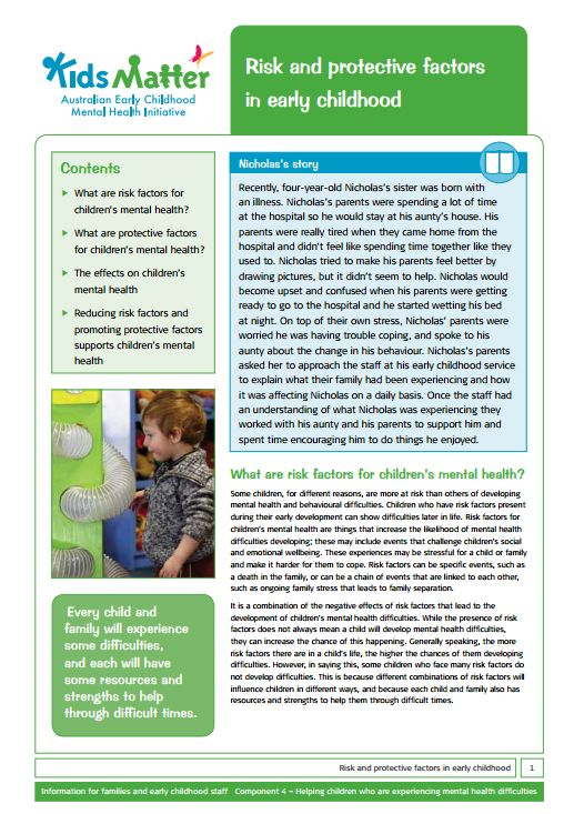 Top Tips: Risk and protective factors in early childhood. Information sheets for families and ECEC staff.