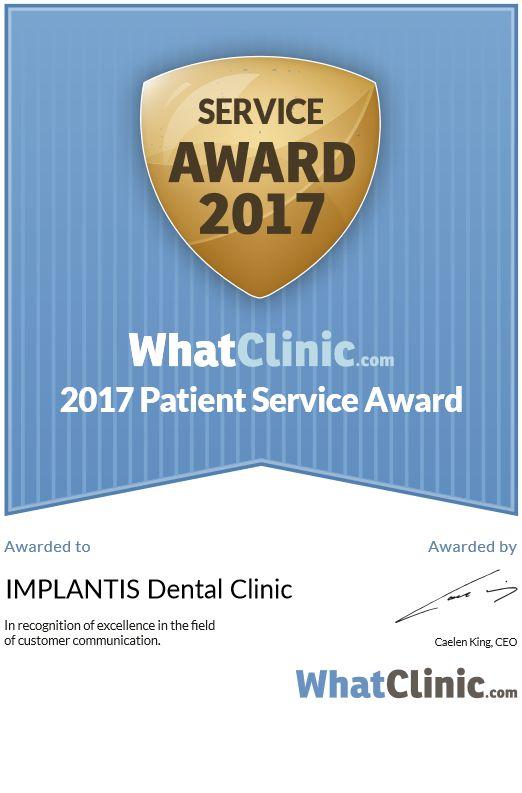 Już trzeci rok z rzędu klinice IMPLANTIS zostało przyznane prestiżowe wyróżnienie za najwyższej jakości usługi (BEST SERVICE AWARD 2017). Nagroda jest przyznawana na podstawie oceny jakości obsługi pacjentów korzystających z największej, niezależnej, międzynarodowej wyszukiwarki usług zdrowotnych Whatclinic.com, z której w 2016 roku skorzystało 17 milionów osób!