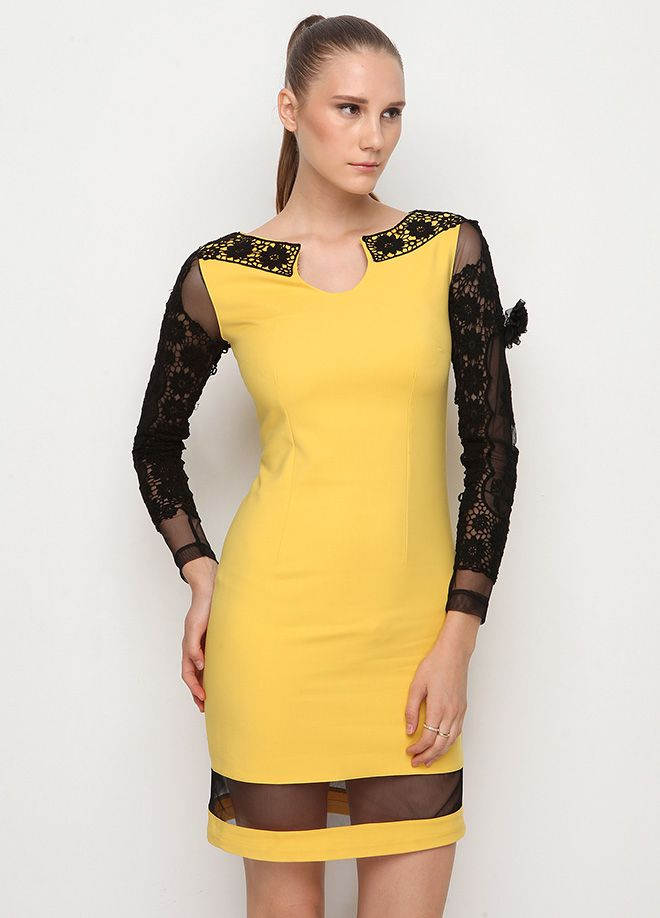 Stil Aşkı: Ofiste Yaz Kollar güpür elbise Markafoni'de 95,00 TL yerine 49,99 TL! Satın almak için: http://www.markafoni.com/product/4613235/ #markafoni #fashion #dress #summer #elbise #mavi #blue #bestoftheday #model #designer #instafashion #dressoftheday #sunny #shoes