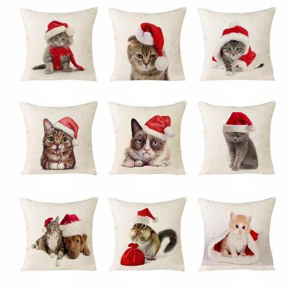 Linen Christmas Cat Pillows