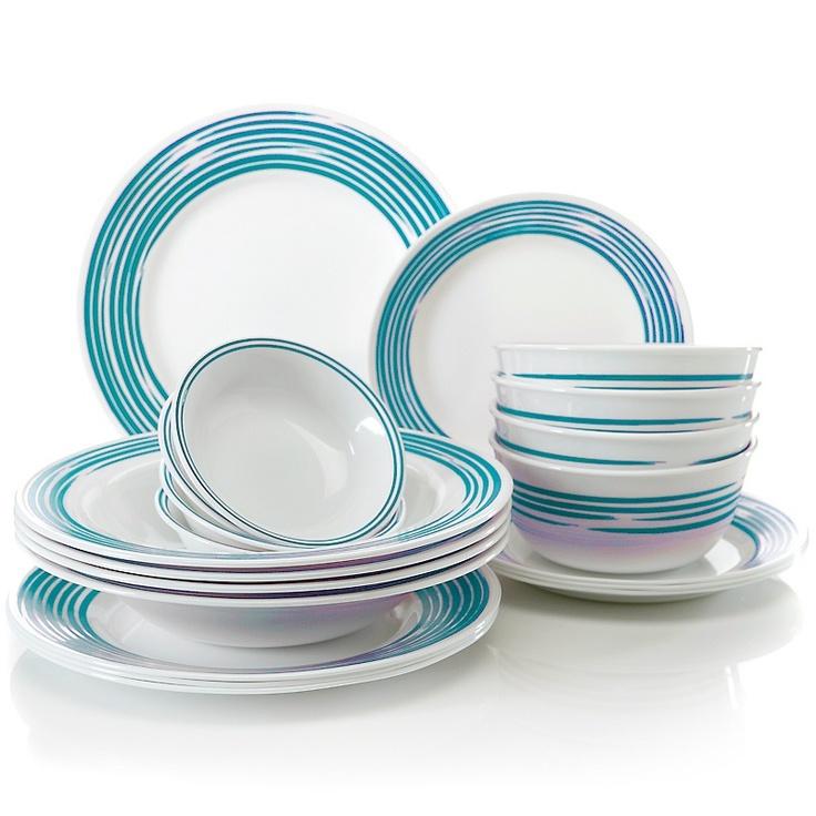 Joy Mangano Corelle Strokes of Color Dinnerware Set - Turquoise  sc 1 st  Pinterest & 27 best Corelle Dishes images on Pinterest | Corelle dishes Dish ...