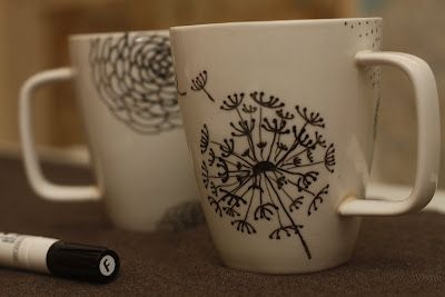 DIY flower mugs w/porcelain pens