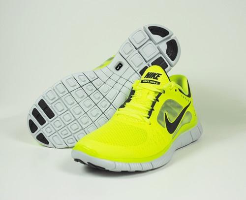 nike free run 3 womens running shoes - fluorescence yellow