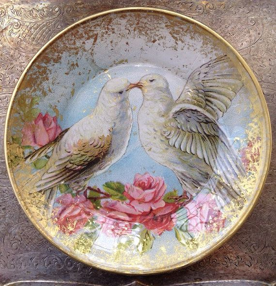 "Hand Crafted Decoupage Plate, Valentine's Day, Vintage Love Birds 7.5"" Plate"