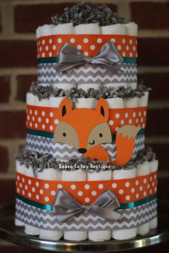 3 Tier Fox Diaper Cake, Boys Woodland Baby Shower, Fox ...