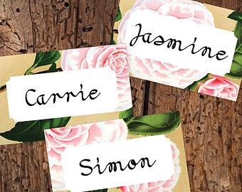 Instant Download Printable Wedding Place Cards - Vintage Floral Peony Romantic Shabby Chic Escort Cards Name Tags