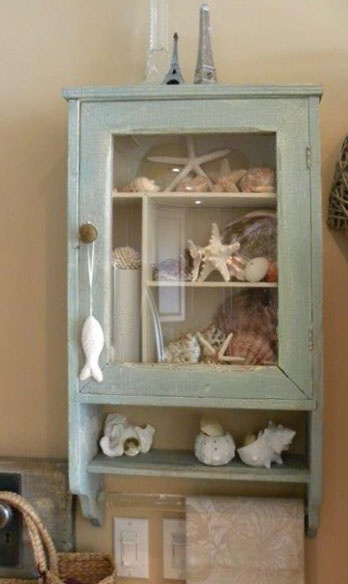 Patti's little shell cupboard done with a mix of Teal and Golden Harvest.
