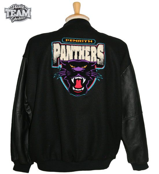 Penrith Panthers NRL wool body and leather sleeves mixed chenille and embroidery varsity jacket back by Team Varsity Jackets. www.facebook.com/TeamVarsityJackets  www.teamvarsityjackets.com.au