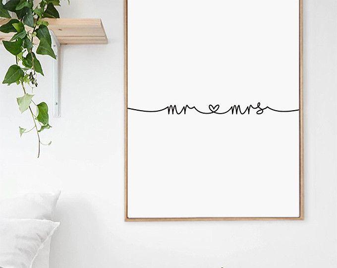 Mr et Mme Print, cadeaux pour les jeunes mariés, Mr et Mme Wall Art, typographie minimaliste, décoration de chambre à coucher, cadeau pour Couple, téléchargement numérique