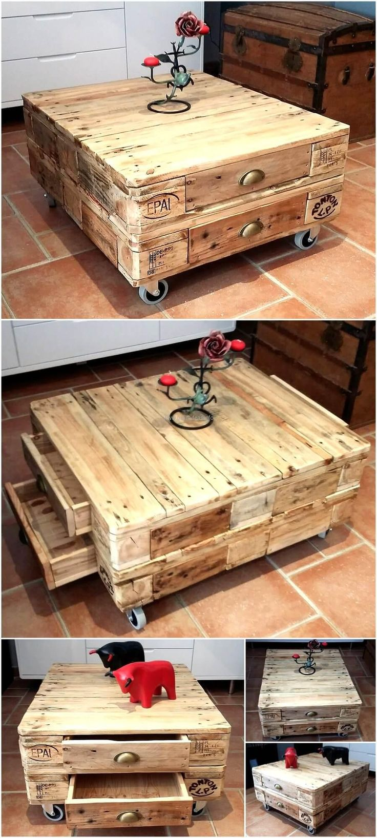 Little Pallets Coffee Table on Wheels with