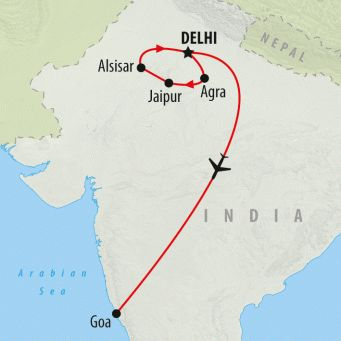 Golden Triangle & Goa is a 14 day group tour of India. Beginning with a cultural journey of Delhi, Agra's Taj Mahal and the Pink City of Jaipur before heading south to the golden beaches of Goa!