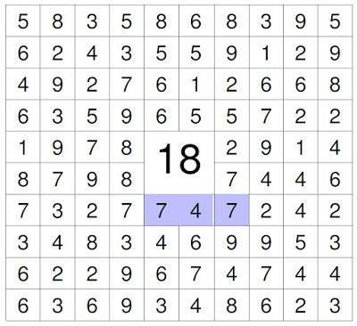 #zahlenrätsel #kinder Suche die Zahlen die zusammen (vertikal, horizontal und oder diagonale) die 18 ergeben.