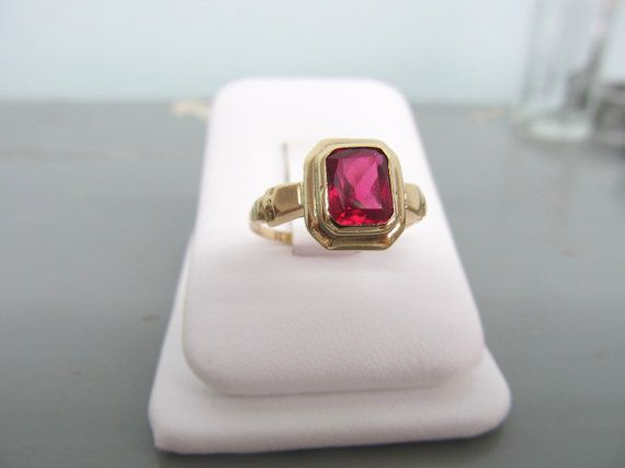 Antique Ruby Ring Art Deco Ring 10k Gold Psco Ring Vintage Estate Ring Size 6 75 Antique Ruby Ring Art Deco Ring Black Jewelry