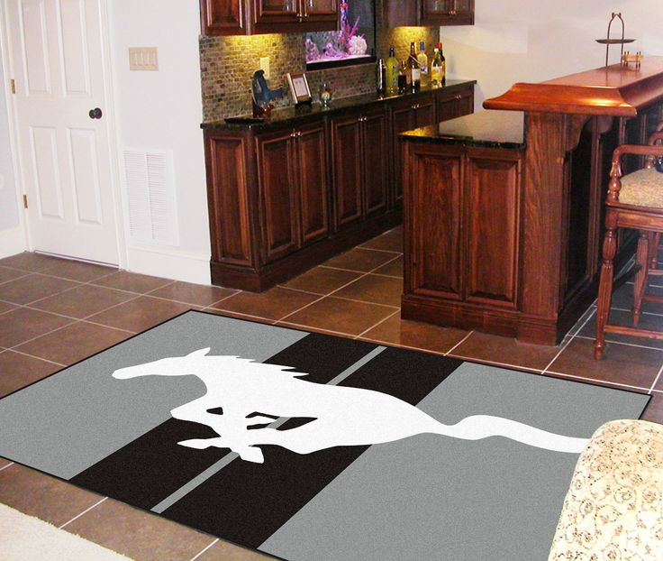 FANMATS Ford Gray Mustang Horse Area Rug On Pinterest