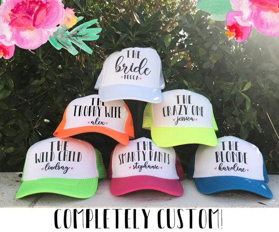 Welcome to MJsBridalSupport! PERSONALIZED BRIDE & BRIDESMAIDS GIFTS Each item is made to order with love and packed with care. WWW.ETSY.COM/SHOP/MJSBRIDALSUPPORT ----------------------NEON BACHELORETTE TRUCKER HATS----------------- High Quality & GREAT COLORS! Neon Pink, Lime Green,