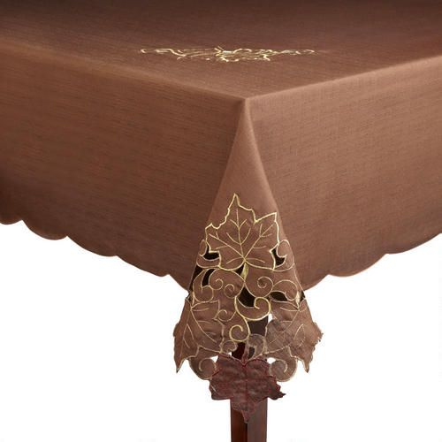 One of my favorite discoveries at ChristmasTreeShops.com: Cutwork Leaves Brown Tablecloth