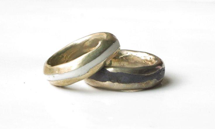 Raku rings fusion brass+porcelain