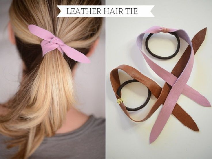 Pink leather hair tie and the top 10 #diy hair accessories. #teen #style