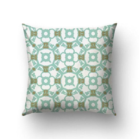 Spanish Decor Pillow Green Pillow Modernist Decor by Macrografiks