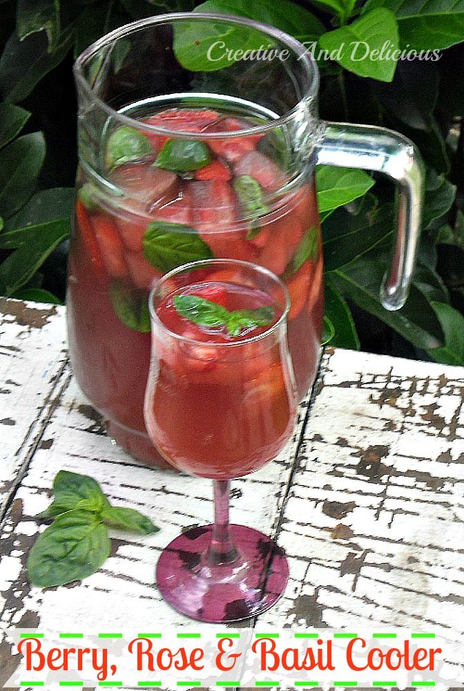 Refreshing, delicious Berry Rose & Basil drink ~ recipe for Alcoholic AND Non-Alcoholic version