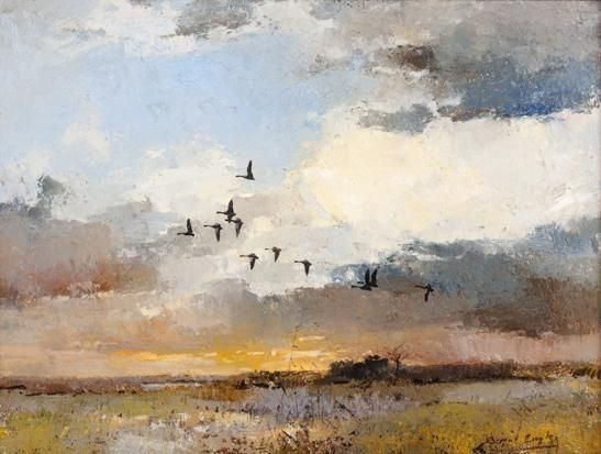 Errol Stephen Boyley - A FLOCK OF BIRDS, oil on board